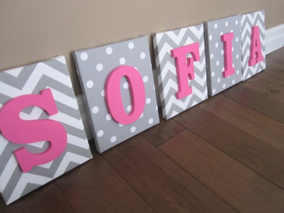 Items similar to wall canvas letters nursery decor nursery letters wooden letters - Decorative wooden letters for walls ...