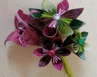 Paper Flower Origami Corsage Buttonhole Alternative Wedding Groom Bride Raspberry Lime Theme