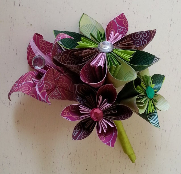 Paper Flower Origami Corsage Buttonhole Alternative Wedding