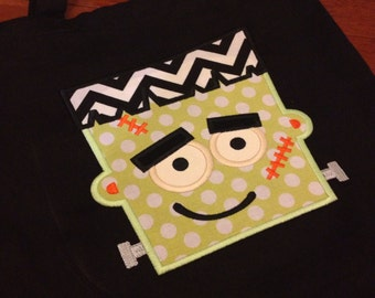 Personalized Halloween Bags - Trick or Treat Bag - Personalalized Bag - Halloween Tote - Frankenstein bag