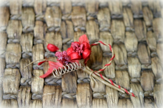 Rustic Red Shabby Chic Flower Embellishment FL-075