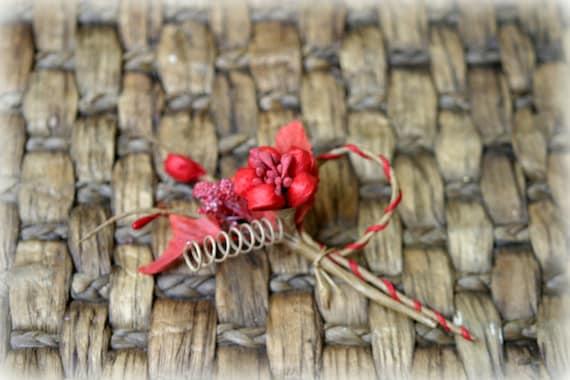 Rustic Red Shabby Chic Flower Embellishment FL-075