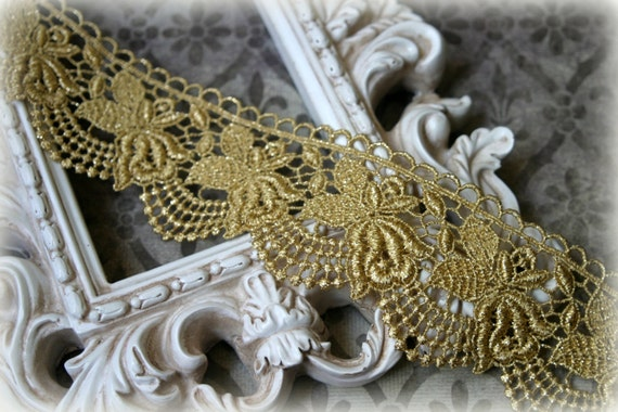 Lace Trim Venice Lace for Altered Art, Costumes, Lace Jewelry, Headbands, Sashes, Sewing, Crafts LA-194