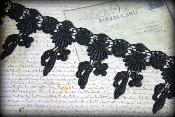 "Black Venice Lace Trim for Applique, Altered Art, Costumes, Lace Jewelry, Headbands, Sashes, Sewing, Crafts approx. 3.50"" LA-192"