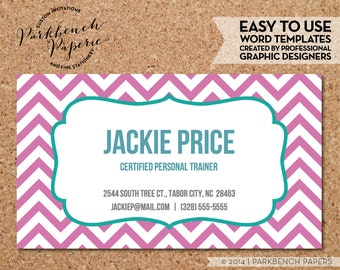 Business Card Template - Bubblegum Chevron & Frame -  DIY Editable Word Template, Instant Download, Printable