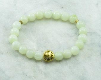 Happiness Mala Bracelet Jade Mala Beads with Knot 21 mala beads for happiness, health, abundance and joy.
