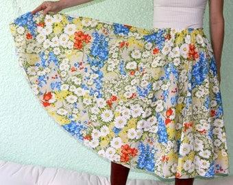Vintage Tablecloth Circle Skirt Retro Color Flowers SUPERB orange blue BRIGHT TableWears