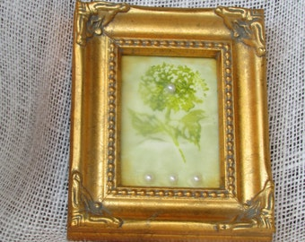 Mixed Media Encaustic Wax Hydrangea Image Encaustic Wax Finish in Antique Gold Colored Frame Faux Pearl Accents