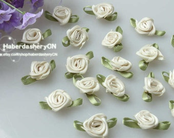 450pcs Tan Cream FREE SHIPPING Satin Ribbon Flower with Green Leaf Appliques