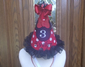 Girls Birthday Party Hat - Minnie  Mouse Birthday Hat - Birthday  Hat