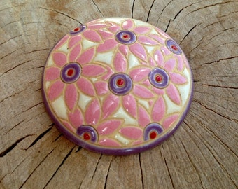 Golem design round ceramic cabochon  Ceramic round  cabochon Design Golem Ceramic  round  cabochon