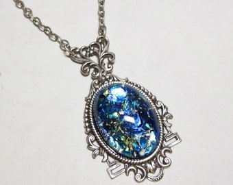 Sea opal jewelry etsy sea blue fire opal pendant necklace jewelry ornate filigree silver blue green vintage glass cab fantasy aloadofball Gallery