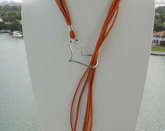 Suede Heart Lariat Necklace