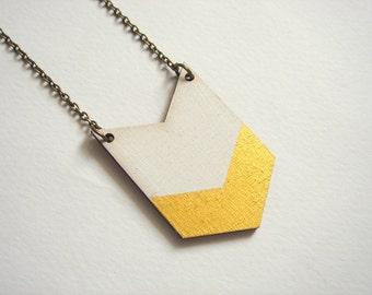 White &Gold Chevron Necklace, Wood Geometric Necklace, Hand Painted  Wood Necklace,Geometric Jewelry