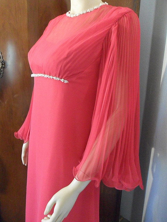 Vintage 60s Emma Domb Raspberry Red Formal Gown