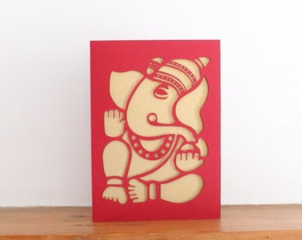 Ganesh the remover of obstacles.   Papercut Greetings Card