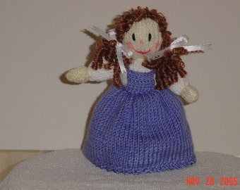 """Hand knit """"topsy turvey"""" doll,  2 in 1 doll. """"The Wizard of Oz"""". This is""""Dorothy"""", turn her over and there is """"The Wicked Witch"""""""