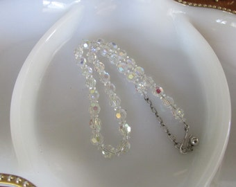 Vintage Clear Borealis Beaded Necklace - Ships FREE