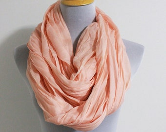 Coral Pink Infinity Scarf, Soft Crinkle Loop Scarf, Winter Scarf, Super Large Scarf, Fall Scarf, Fashion Scarf, Womens Scarf, Christmas Gift