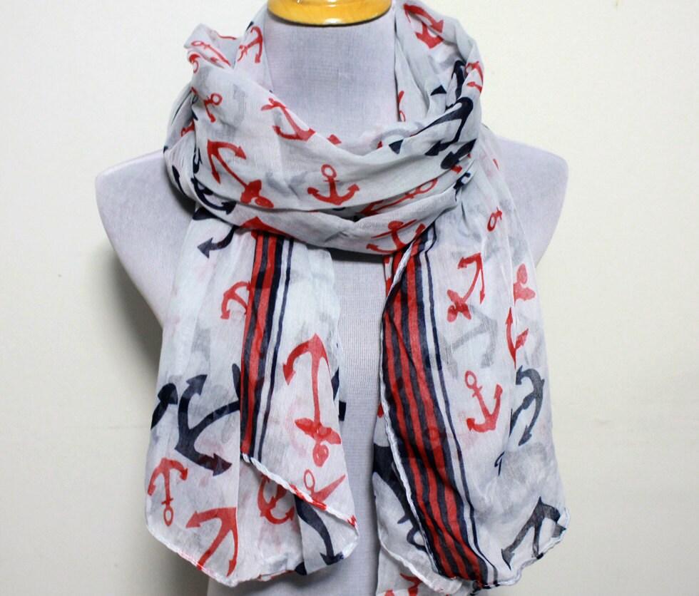 white anchor scarf nautical scarf sailor scarf scarf