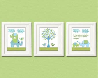 Blue and green Nursery Art Print Set, 8x10, Kids Room Decor - Animals,elephant, tree, love birds, stacked elephants