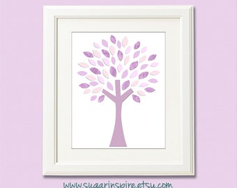 Purple and light pink tree nursery art Print, 8x10, nursery wall art, Kids Room Decor,  tree, pink