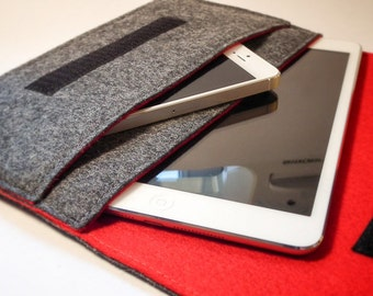 Google Nexus 7 Sleeve / Google Nexus 7 Case / Google Nexus 7 in Mottled Dark Grey and Red Wool Felt