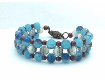 Bracelet, Beaded Cuff with Glass Beads