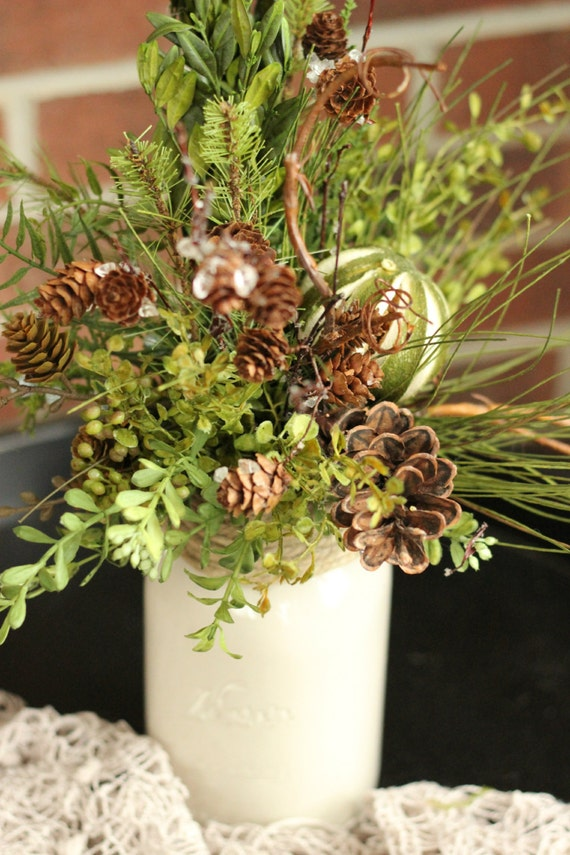 mason jar winter centerpiece natural winter floral pinecone