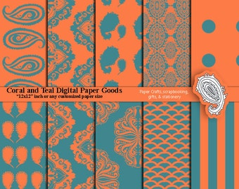 Coral and Teal Printable Craft Paper for Scrapbooking and Crafts