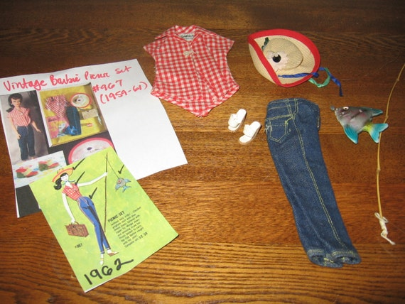 Barbie picnic set fishing pole hat sandals jeans for Barbie fishing pole
