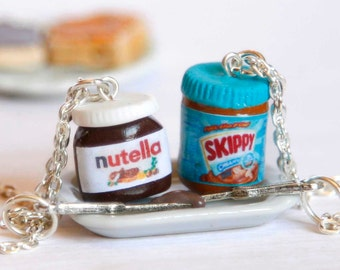 BFF nutella and peanut butter necklaces, Nutella lover, bff necklaces, miniature food jewelry, kawaii bff necklaces, best friends forever