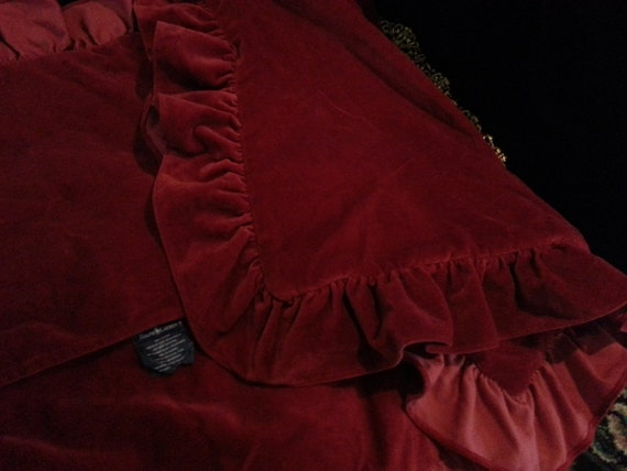 Reserved Ralph Lauren Red Velvet Standard Pillow Shams Bedding