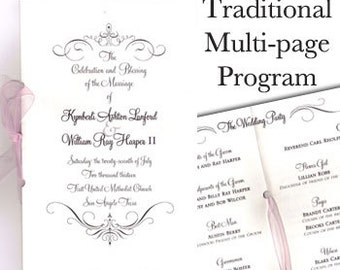 Traditional Wedding Programs 8 Pages Classic Program Ribbon