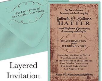 Grunge Invitation Sets Layered Wedding Invitation Sets Custom Wedding Invitation Set Reaffirmation Invitations