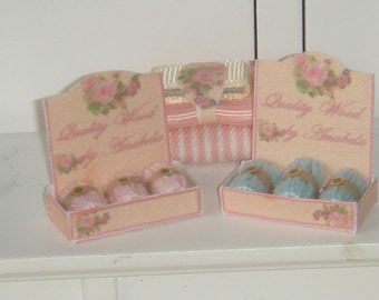 Dollhouse wool display. 1:12 dollhouse miniature sewing.