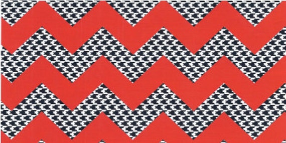 Sale!! Red/Black Houndstooth Chevron Fabric by Fabric Finders - 1 yard, 60 inch width