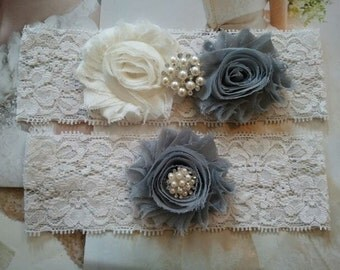 Wedding Garter, Bridal Garter, Garter -  Ivory/Silver Flowers on a Stretch Ivory Lace with Pearls & Rhinestones - Style G30001
