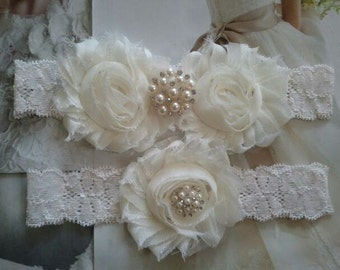 Wedding Garter, Bridal Garter, Garter -  Ivory Flowers on a Stretch Ivory Lace with Pearls & Rhinestones - Style G30027