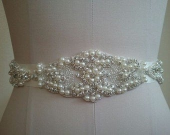 Wedding Belt, Bridal Belt, Sash Belt, Crystal Rhinestone & Pearls - Style B30080