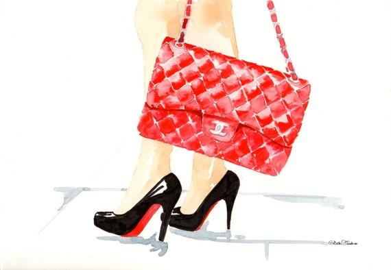 Chanel Handbag Illustration Red Chanel Flap Handbag