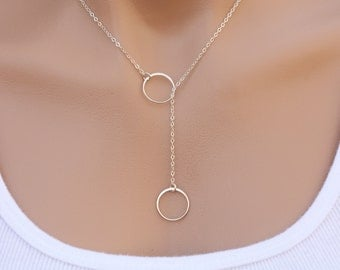 Sterling silver Circle Lariat Y necklace,Karma Lariat necklace,Best friends,Bridesmaid Gifts,Sisterhood,Graduation