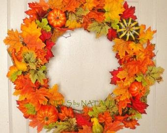 """16"""" Fall Leaf and gourd wreath"""