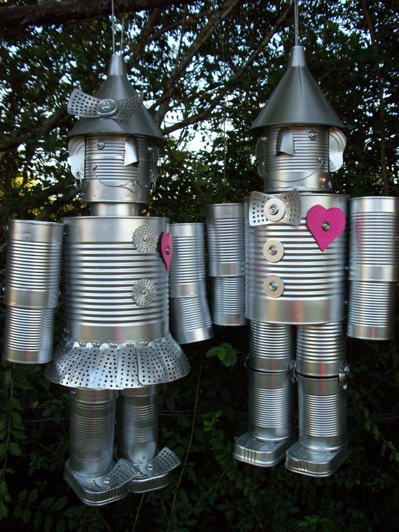 Free shipping mr mrs tin a gen our by thetinmanconnection for Tin man out of cans