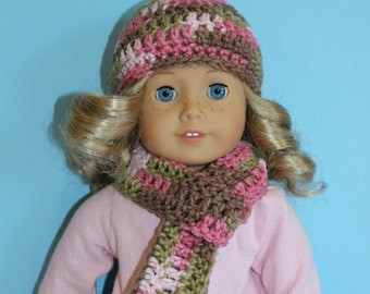 """18"""" Doll Accessories: Crocheted Hat and Scarf in Pink Camo"""