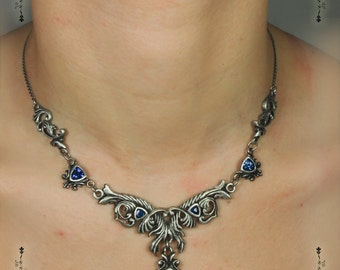 Antique Victorian Necklace Victorien crystal medieval steam punk