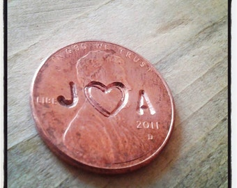 Hand stamped pennies, penny wedding favors with initials and heart