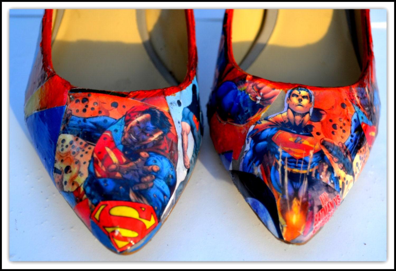 custom shoes womens superman shoes size 6 shoes superman