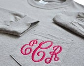 Long Sleeve Monogrammed T-shirt with Pocket