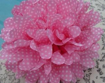 Pink with White Polka Dot / 1 tissue paper pom pom / baby shower, wedding, party decor, birthday, bridal shower, nursery